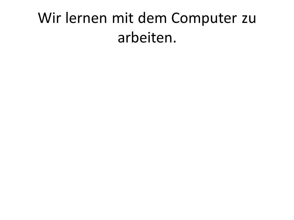 Wir lernen mit dem Computer zu arbeiten.