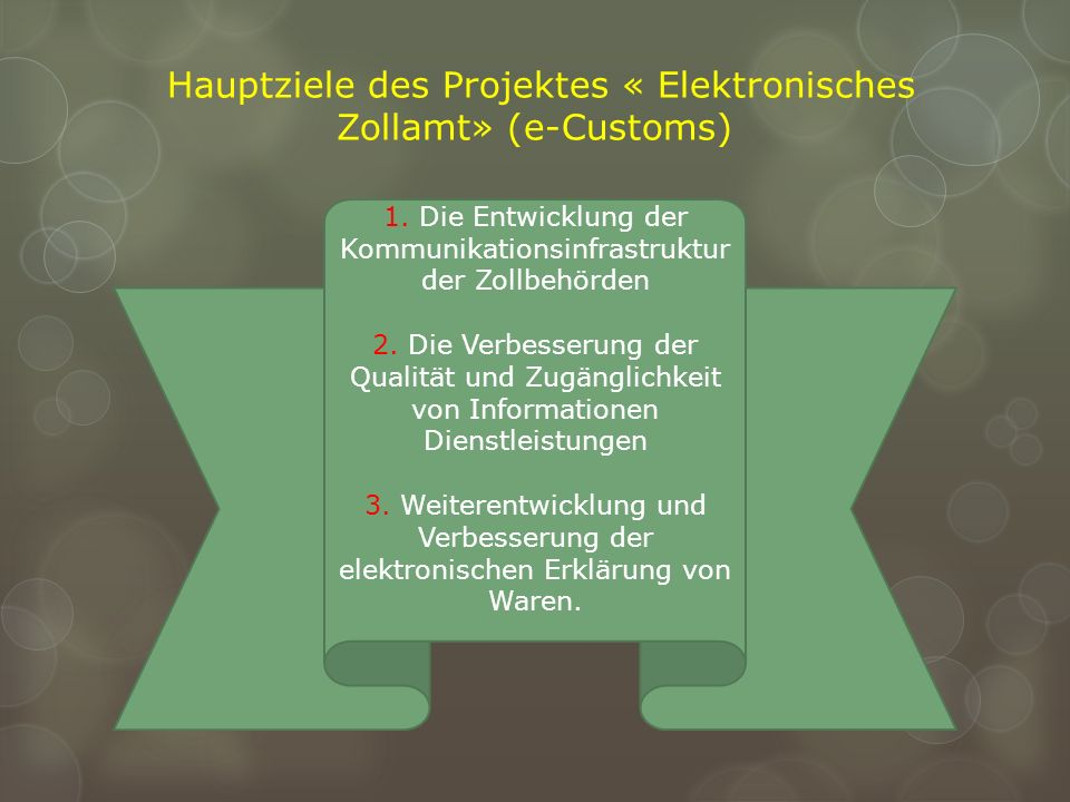 Hauptziele des Projektes « Elektronisches Zollamt» (e-Customs)
