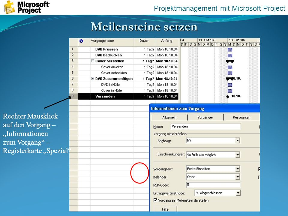 Meilensteine setzen Projektmanagement mit Microsoft Project