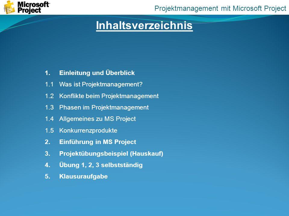 Inhaltsverzeichnis Projektmanagement mit Microsoft Project