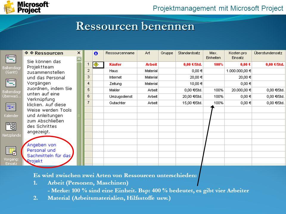 Ressourcen benennen Projektmanagement mit Microsoft Project