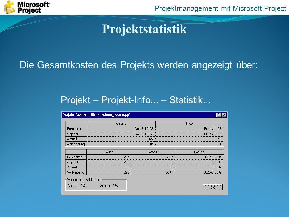 Projektstatistik Die Gesamtkosten des Projekts werden angezeigt über: