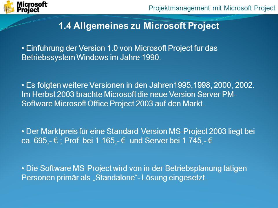 1.4 Allgemeines zu Microsoft Project
