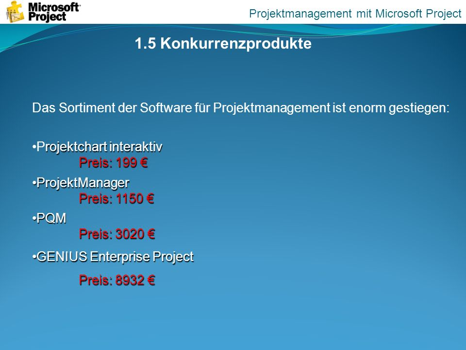 Projektmanagement mit Microsoft Project