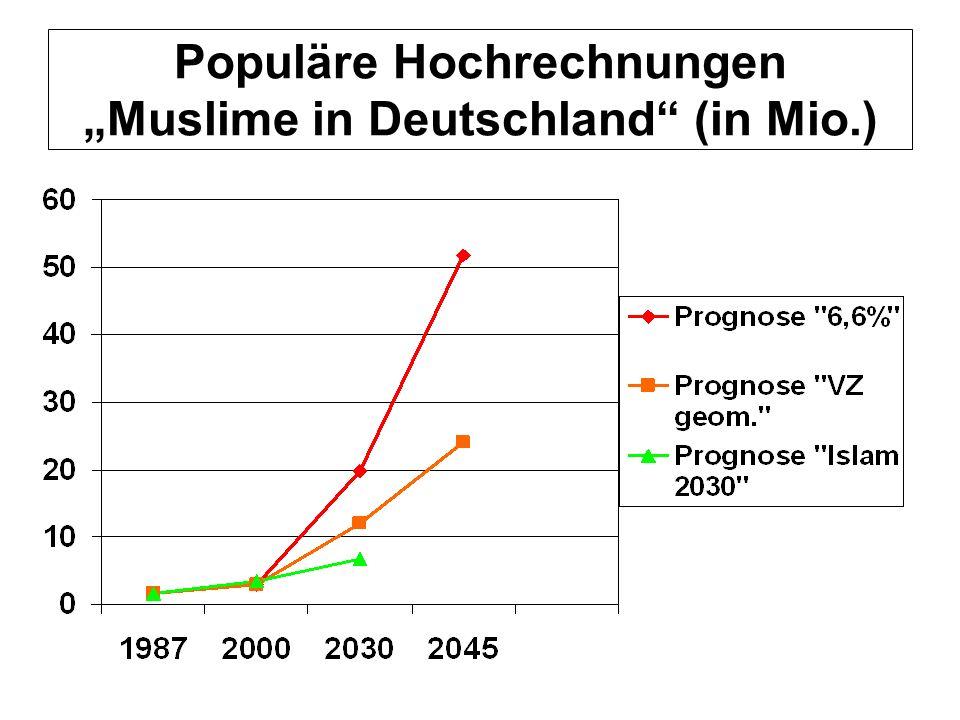 """Populäre Hochrechnungen """"Muslime in Deutschland (in Mio.)"""