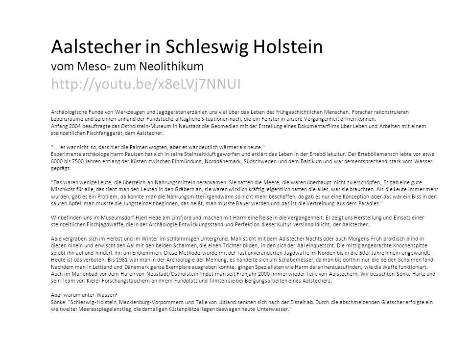 Aalstecher in Schleswig Holstein vom Meso- zum Neolithikum http://youtu.be/x8eLVj7NNUI Archäologische Funde von Werkzeugen und Jagdgeräten erzählen uns viel über das Leben des frühgeschichtlichen Menschen.