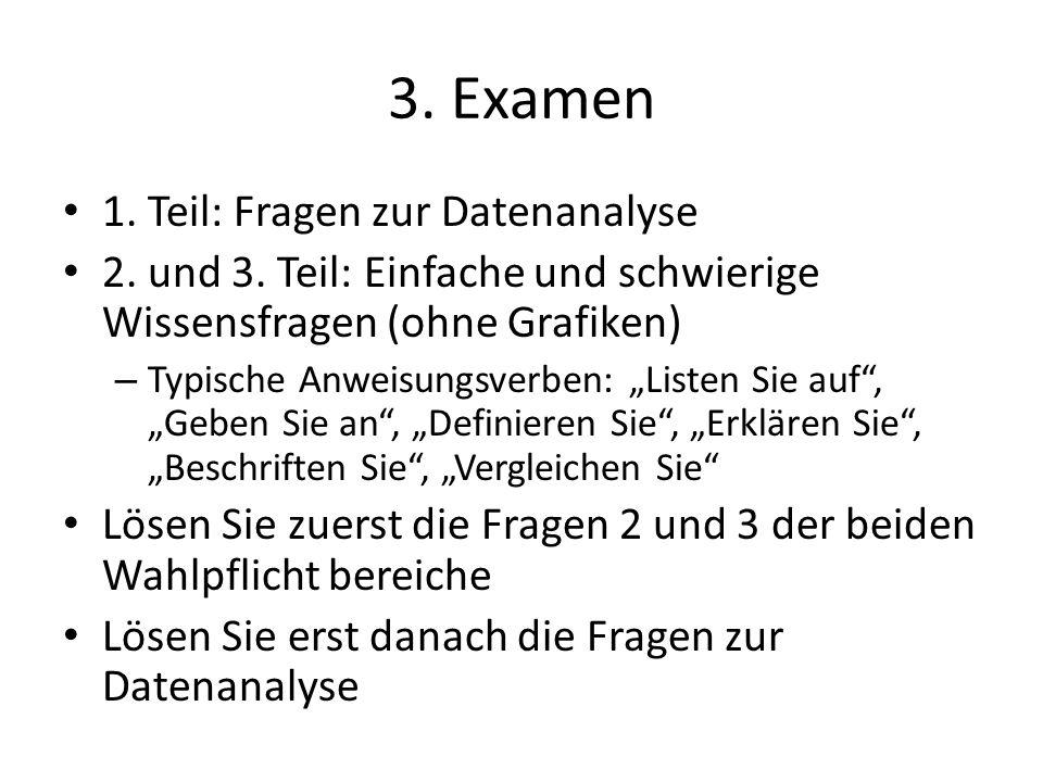 3. Examen 1. Teil: Fragen zur Datenanalyse