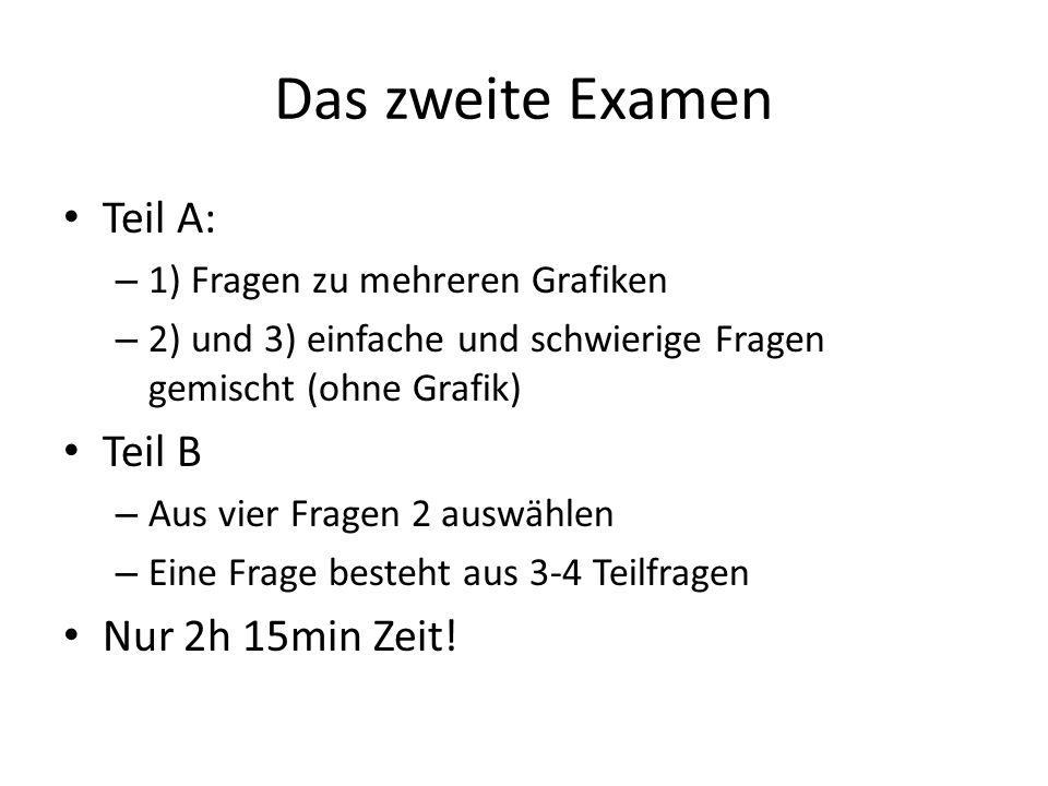 Das zweite Examen Teil A: Teil B Nur 2h 15min Zeit!