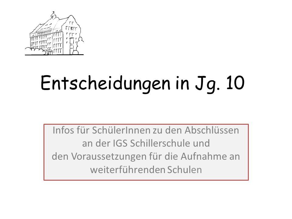 Entscheidungen in Jg. 10 Infos für SchülerInnen zu den Abschlüssen