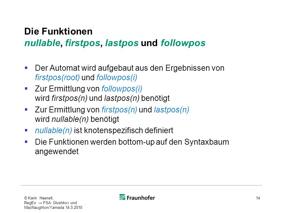Die Funktionen nullable, firstpos, lastpos und followpos