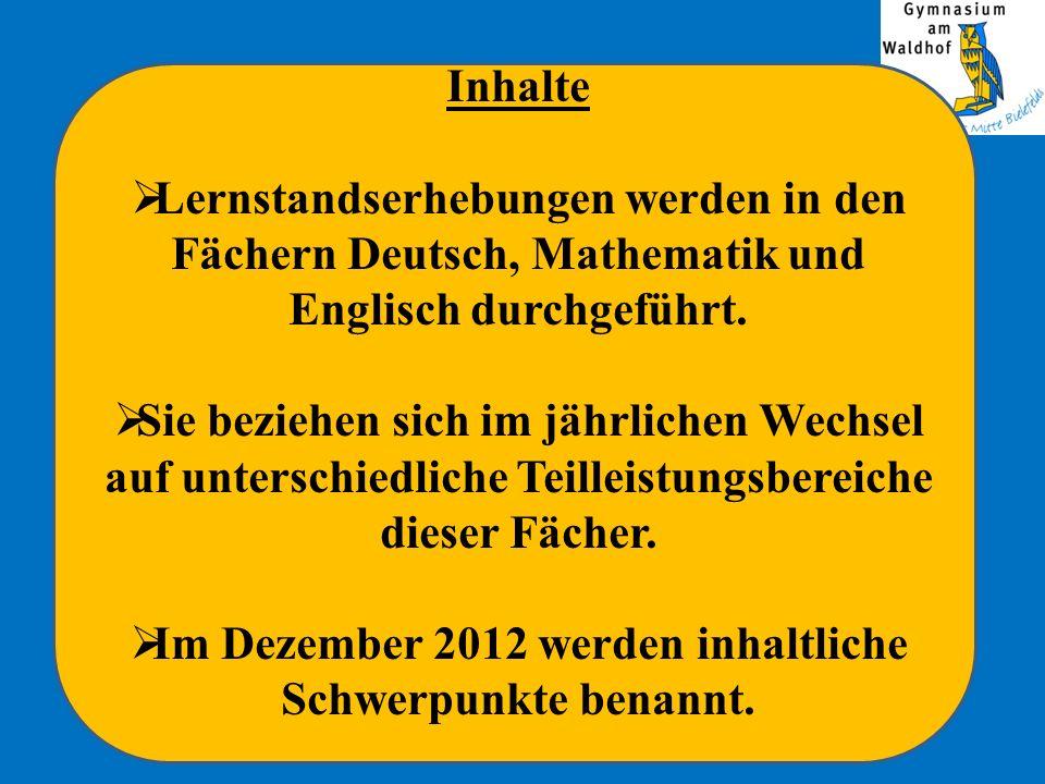 Im Dezember 2012 werden inhaltliche Schwerpunkte benannt.