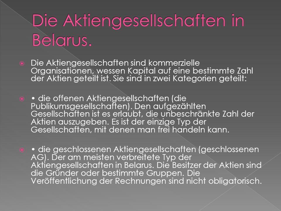 Die Aktiengesellschaften in Belarus.