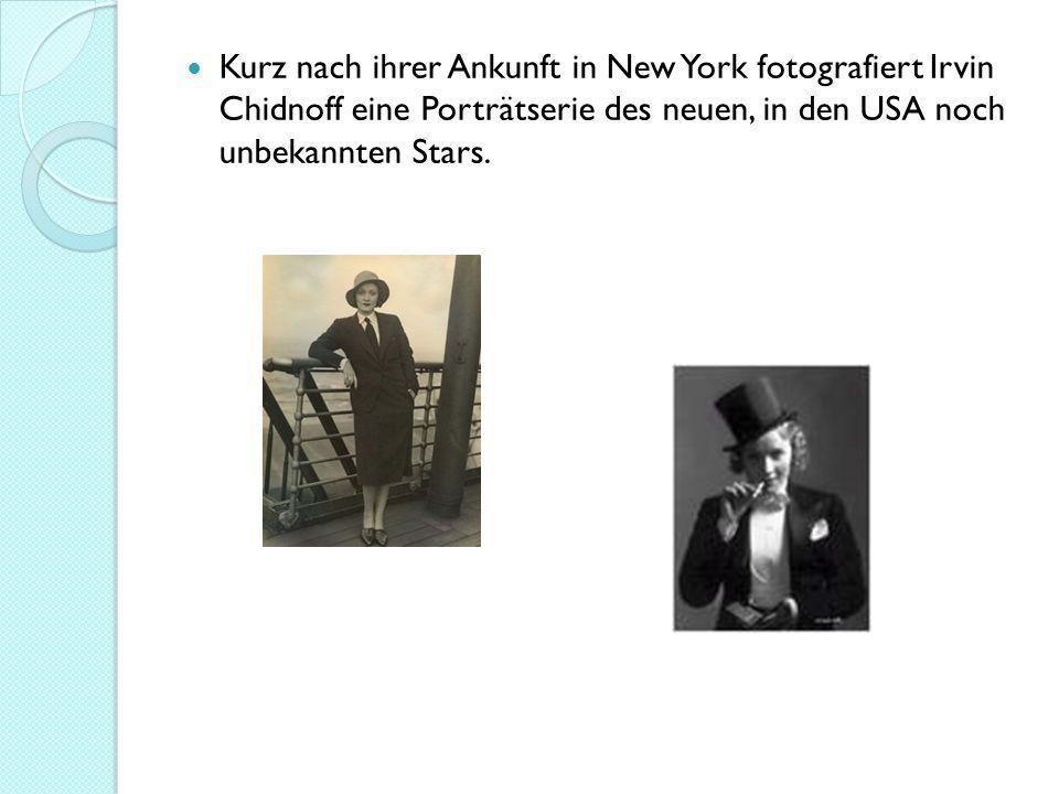 Kurz nach ihrer Ankunft in New York fotografiert Irvin Chidnoff eine Porträtserie des neuen, in den USA noch unbekannten Stars.