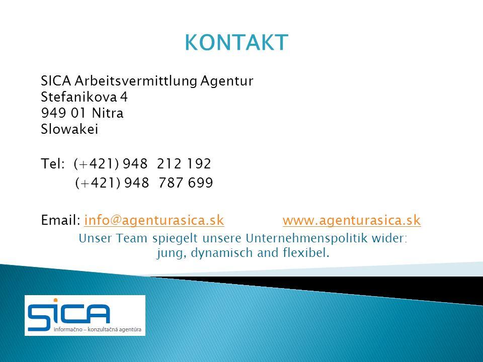 KONTAKT SICA Arbeitsvermittlung Agentur Stefanikova 4 949 01 Nitra
