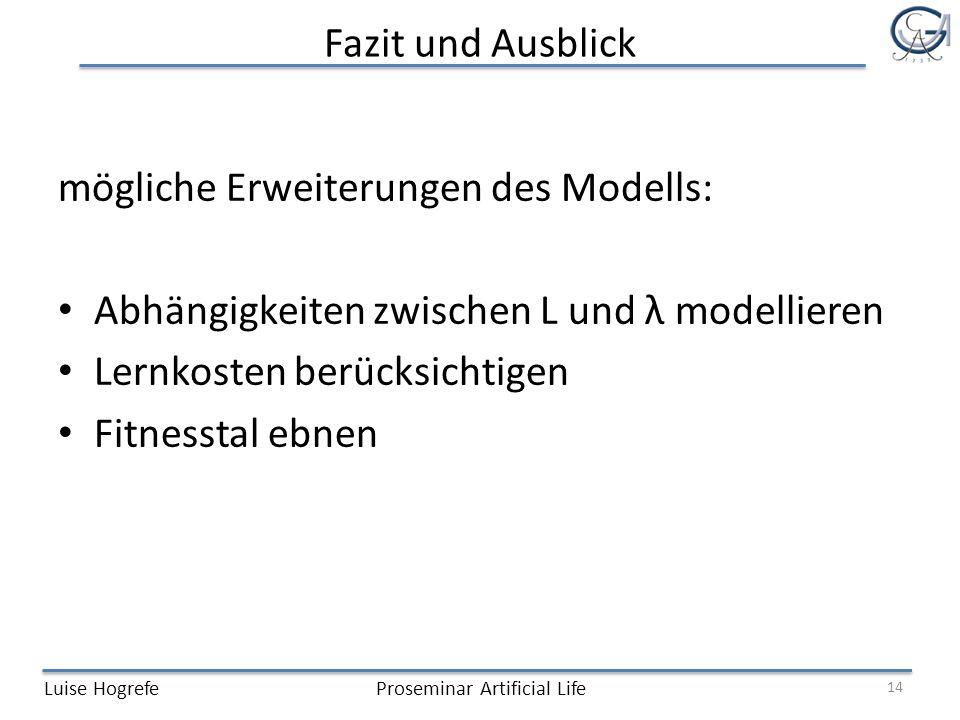 mögliche Erweiterungen des Modells: