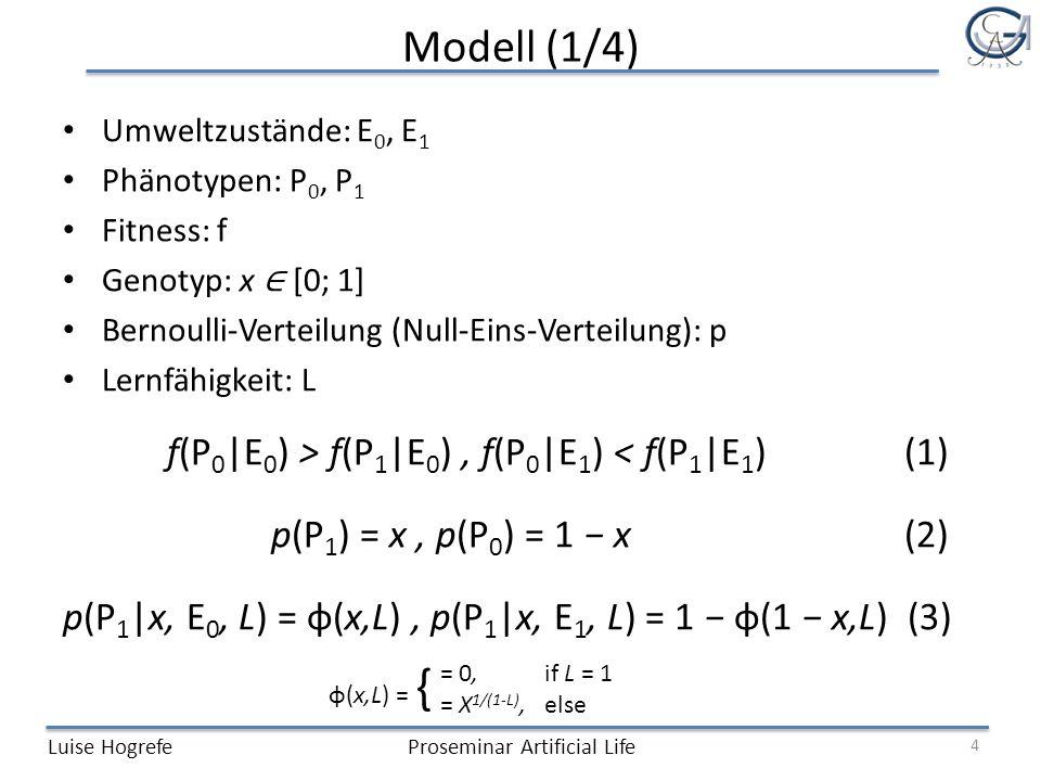 Modell (1/4) f(P0|E0) > f(P1|E0) , f(P0|E1) < f(P1|E1) (1)