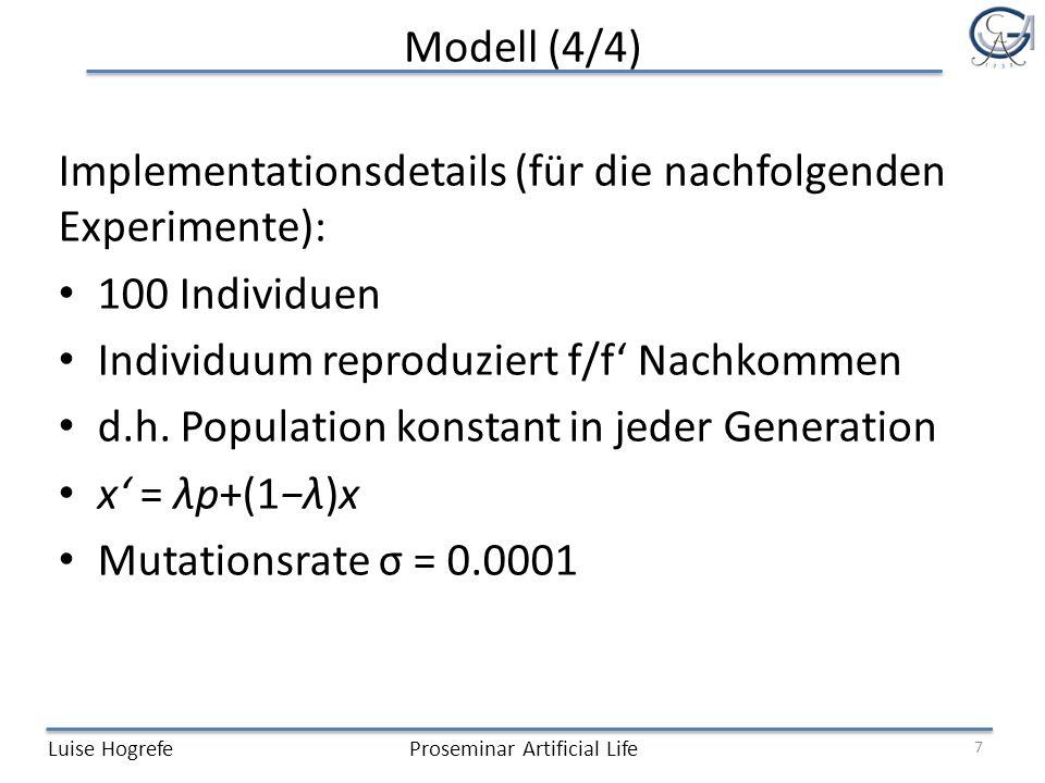 Implementationsdetails (für die nachfolgenden Experimente):