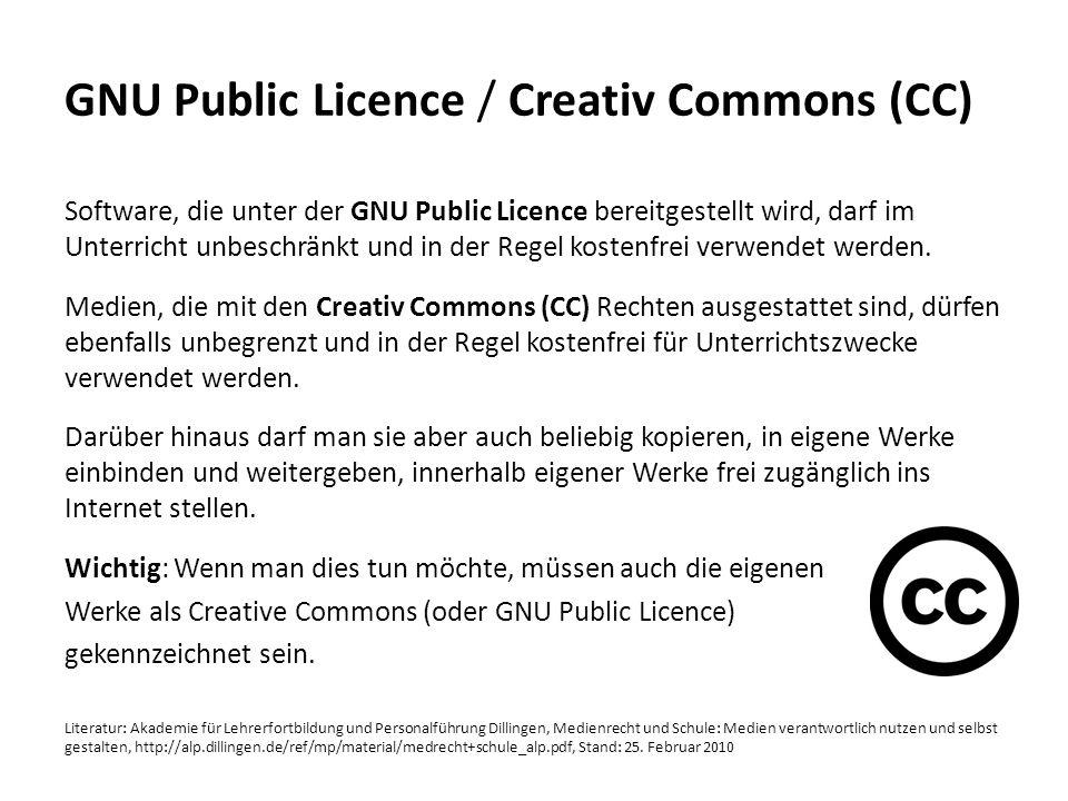 GNU Public Licence / Creativ Commons (CC)