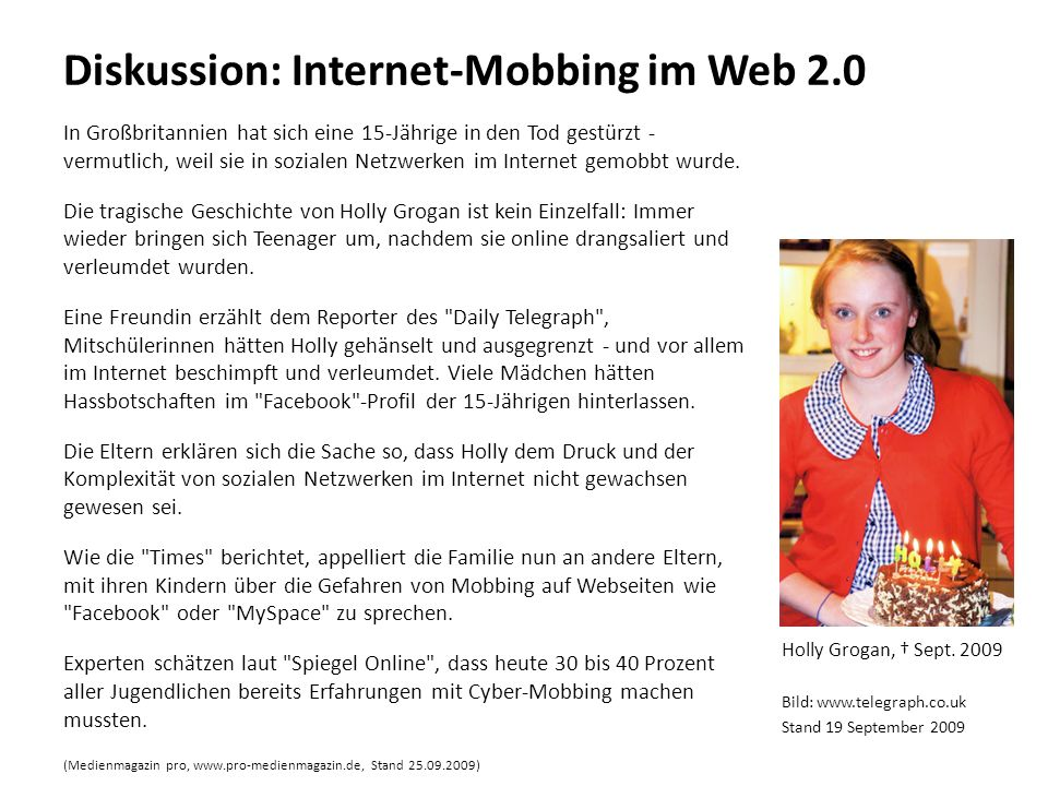 Diskussion: Internet-Mobbing im Web 2.0