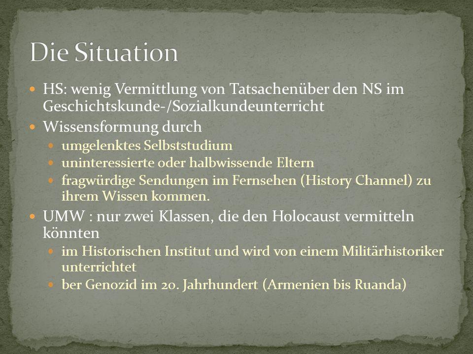 Die Situation HS: wenig Vermittlung von Tatsachenüber den NS im Geschichtskunde-/Sozialkundeunterricht.