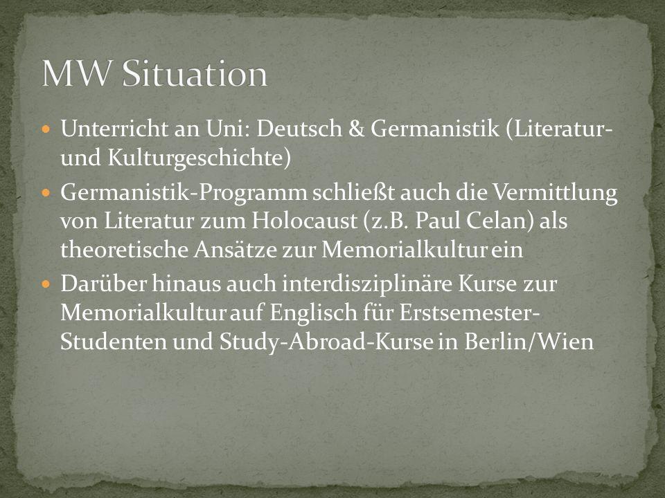 MW Situation Unterricht an Uni: Deutsch & Germanistik (Literatur- und Kulturgeschichte)