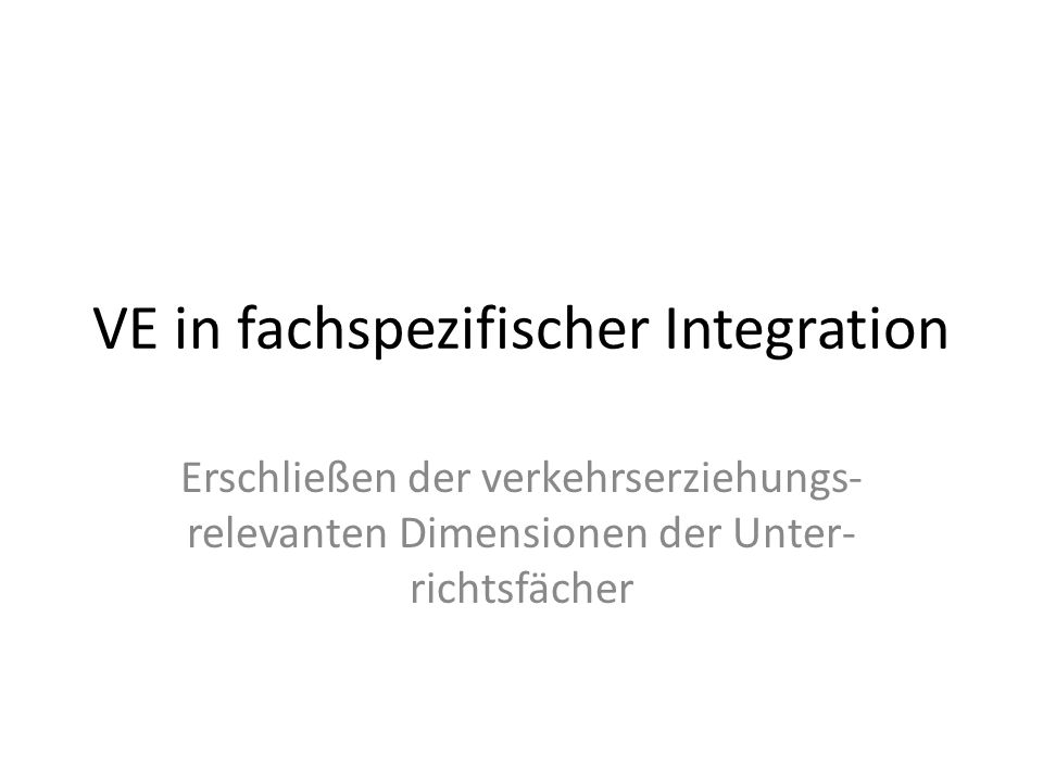 VE in fachspezifischer Integration
