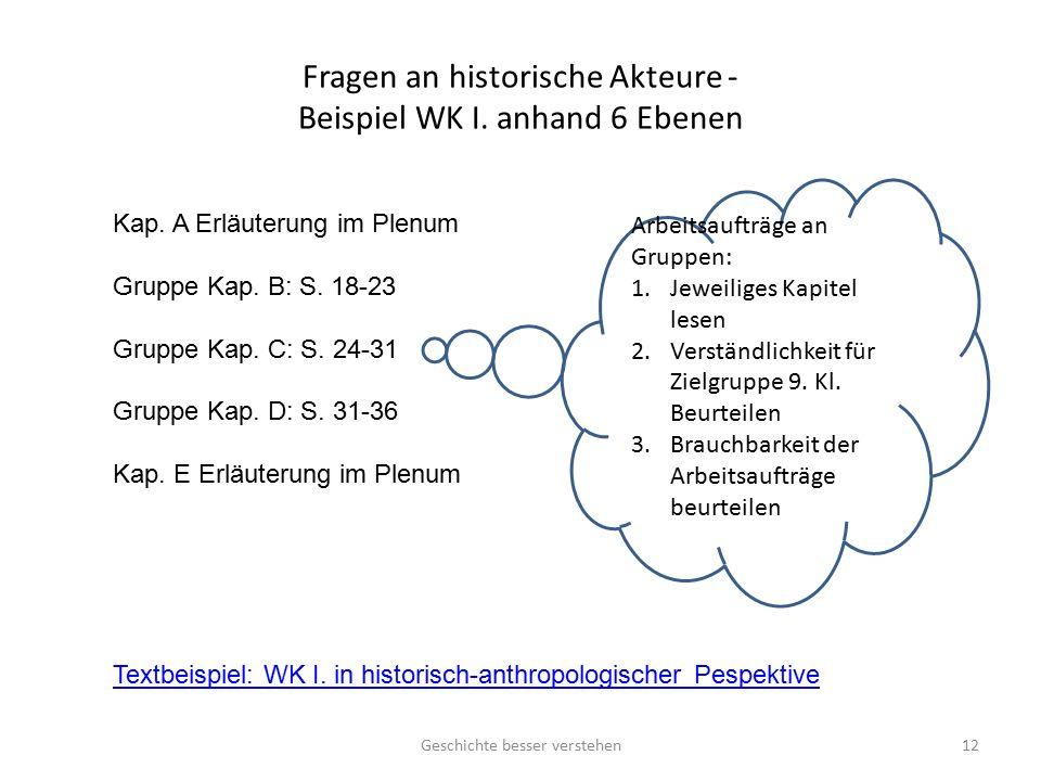 Fragen an historische Akteure - Beispiel WK I. anhand 6 Ebenen