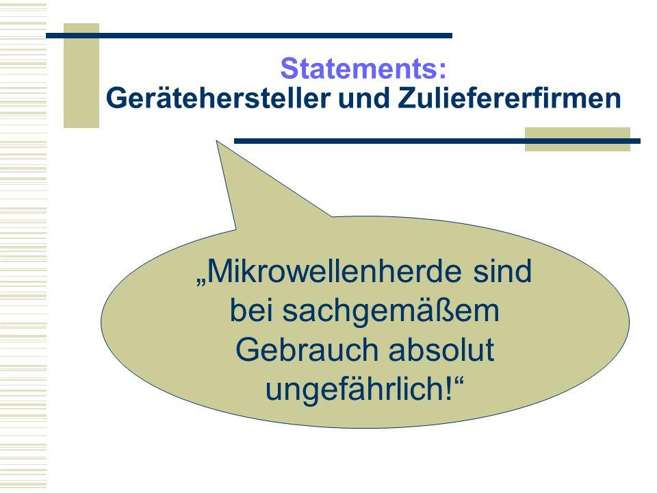 Statements: Gerätehersteller und Zuliefererfirmen