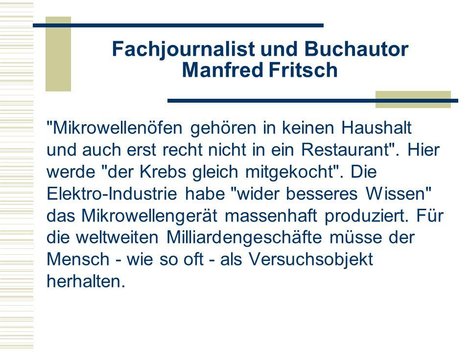 Fachjournalist und Buchautor Manfred Fritsch
