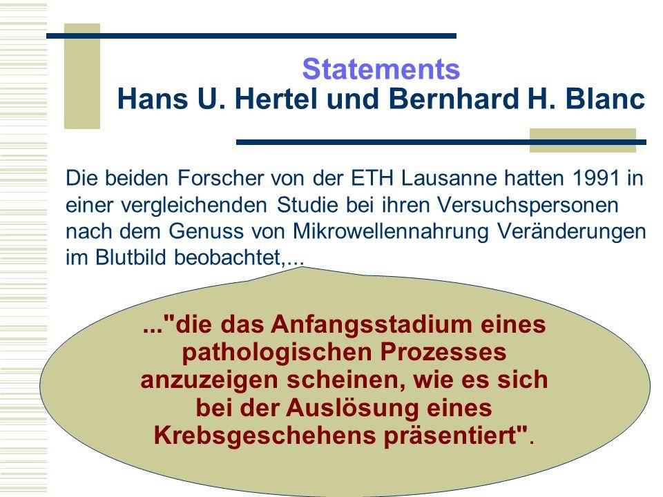 Statements Hans U. Hertel und Bernhard H. Blanc