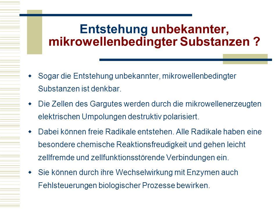 Entstehung unbekannter, mikrowellenbedingter Substanzen
