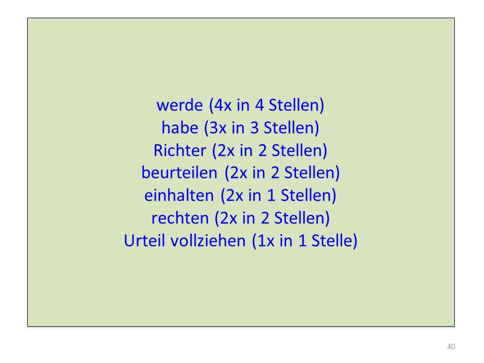 beurteilen (2x in 2 Stellen) einhalten (2x in 1 Stellen)