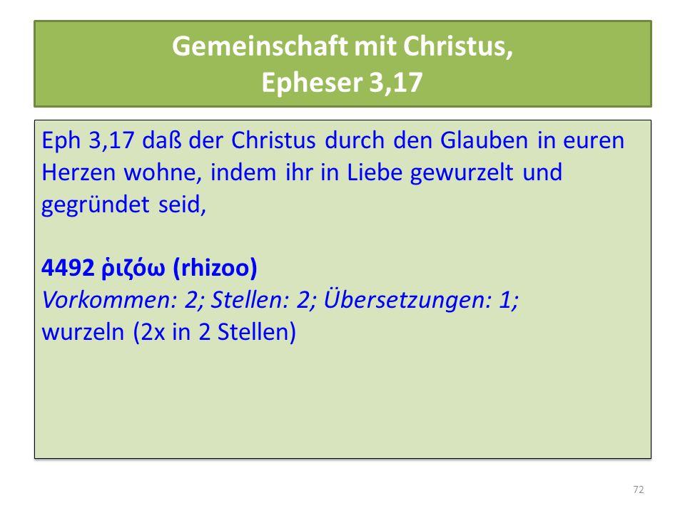 Gemeinschaft mit Christus, Epheser 3,17