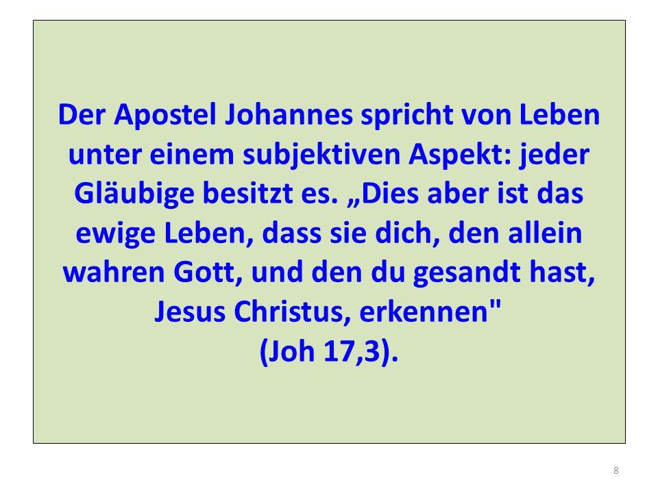 Der Apostel Johannes spricht von Leben unter einem subjektiven Aspekt: jeder Gläubige besitzt es.