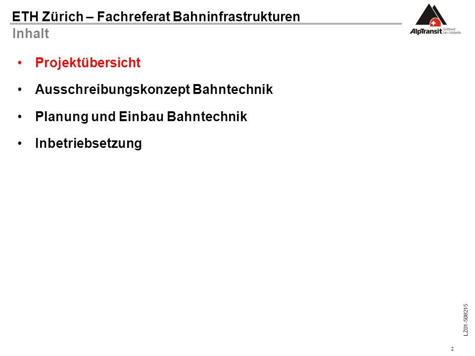 Inhalt Projektübersicht. Ausschreibungskonzept Bahntechnik.