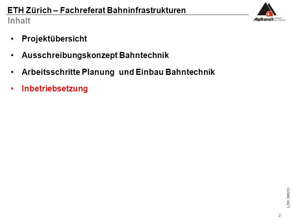 Inhalt Projektübersicht. Ausschreibungskonzept Bahntechnik. Arbeitsschritte Planung und Einbau Bahntechnik.