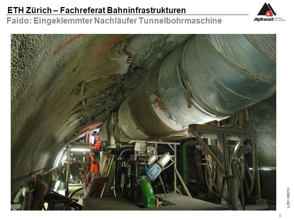 Faido: Eingeklemmter Nachläufer Tunnelbohrmaschine
