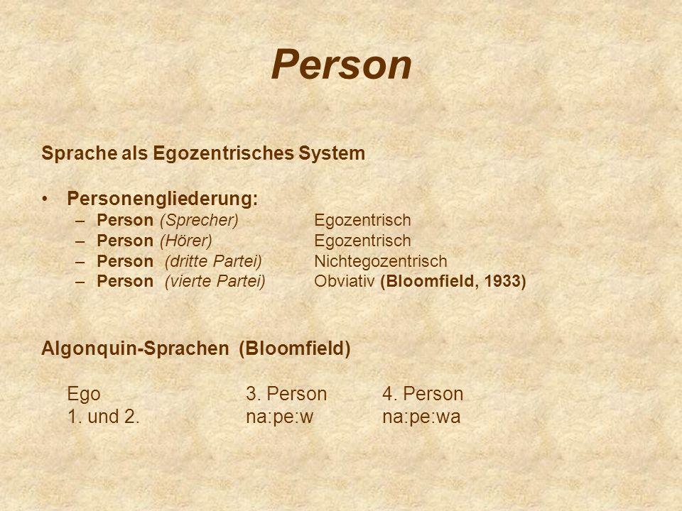 Person Sprache als Egozentrisches System Personengliederung: