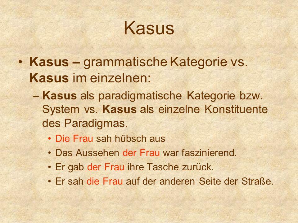 Kasus Kasus – grammatische Kategorie vs. Kasus im einzelnen: