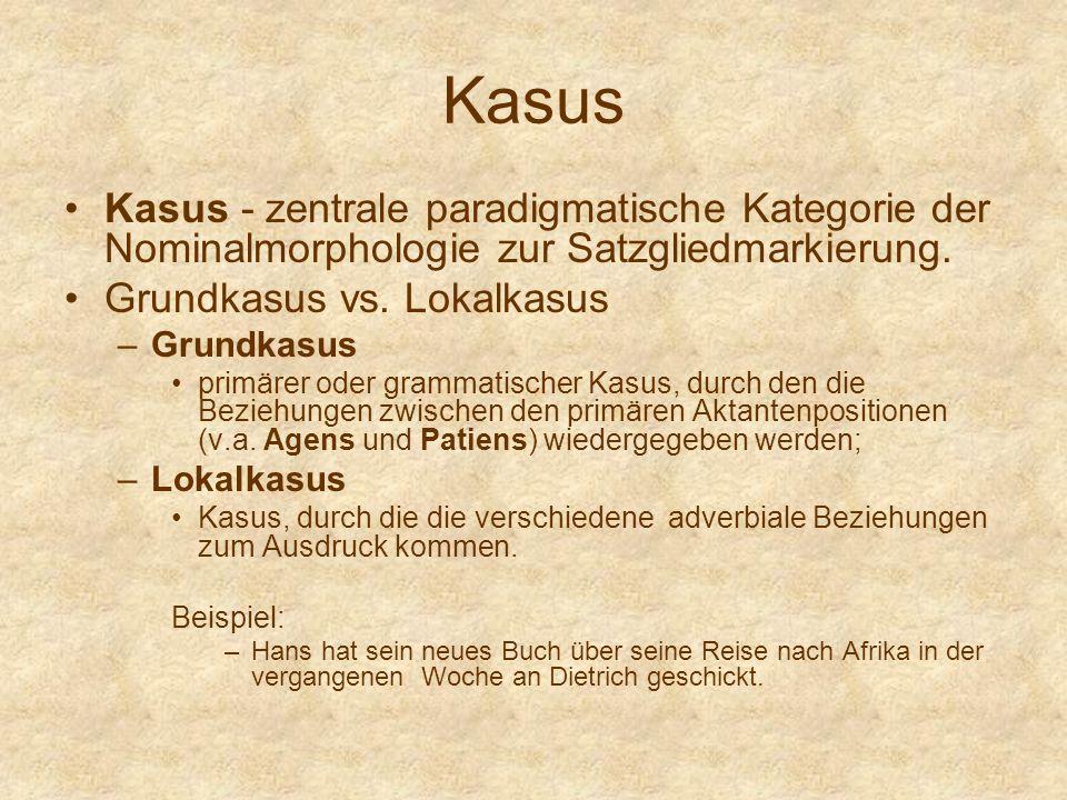 Kasus Kasus - zentrale paradigmatische Kategorie der Nominalmorphologie zur Satzgliedmarkierung. Grundkasus vs. Lokalkasus.