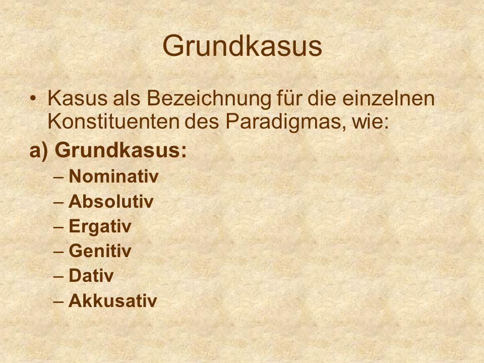 Grundkasus Kasus als Bezeichnung für die einzelnen Konstituenten des Paradigmas, wie: a) Grundkasus: