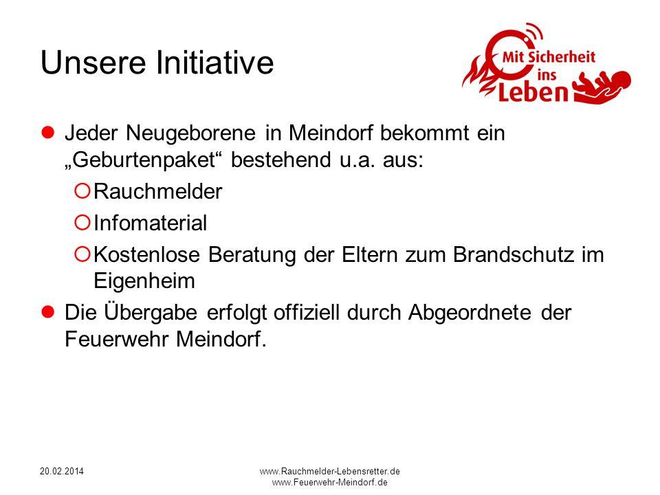 """Unsere Initiative Jeder Neugeborene in Meindorf bekommt ein """"Geburtenpaket bestehend u.a. aus: Rauchmelder Kinderbuch über Rauchmelder."""