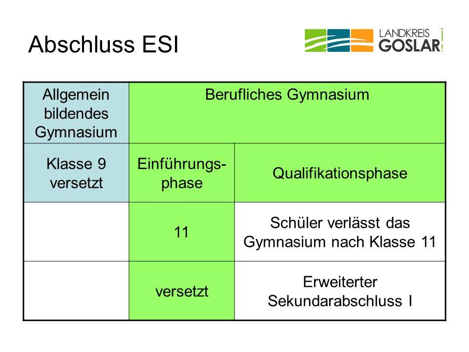Abschluss ESI Allgemein bildendes Gymnasium Berufliches Gymnasium