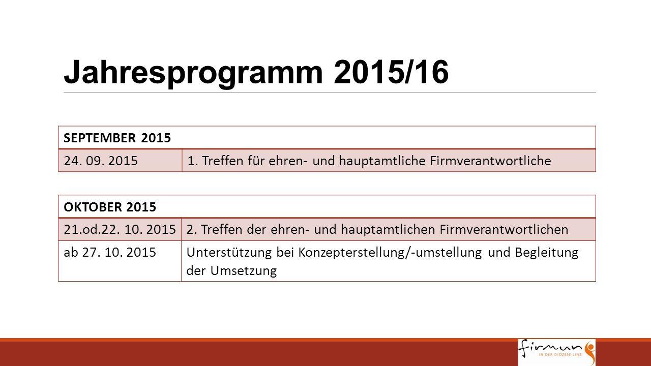 Jahresprogramm 2015/16 SEPTEMBER 2015 24. 09. 2015