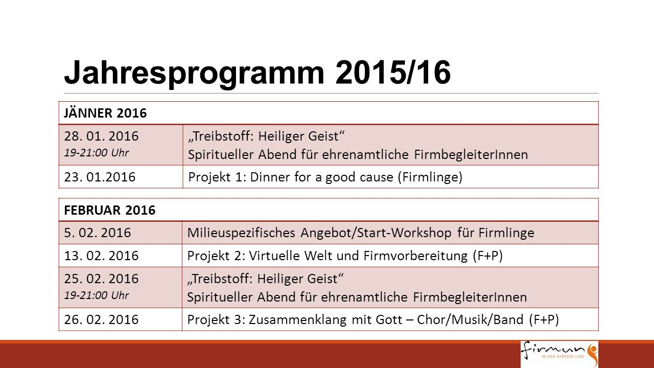 Jahresprogramm 2015/16 JÄNNER 2016 28. 01. 2016