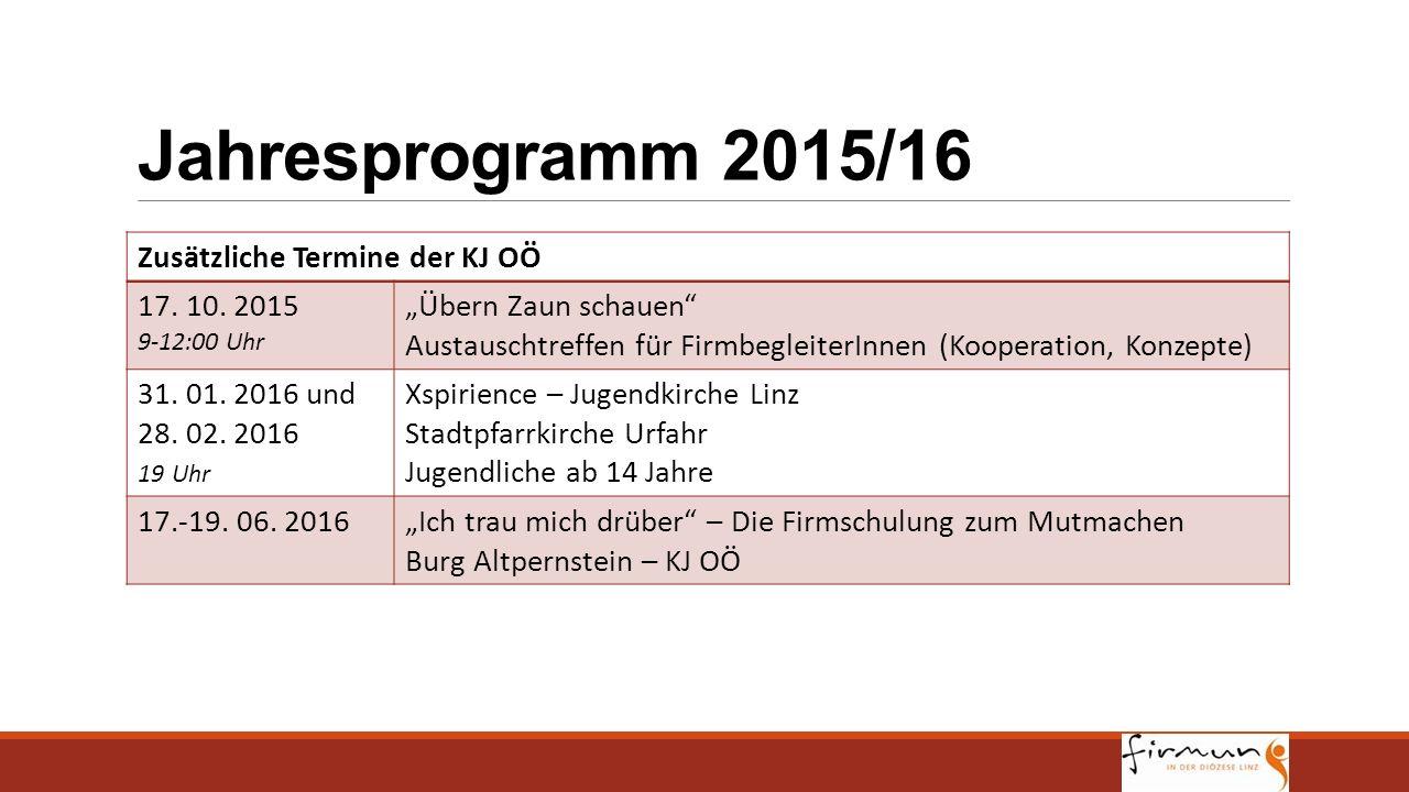 Jahresprogramm 2015/16 Zusätzliche Termine der KJ OÖ 17. 10. 2015