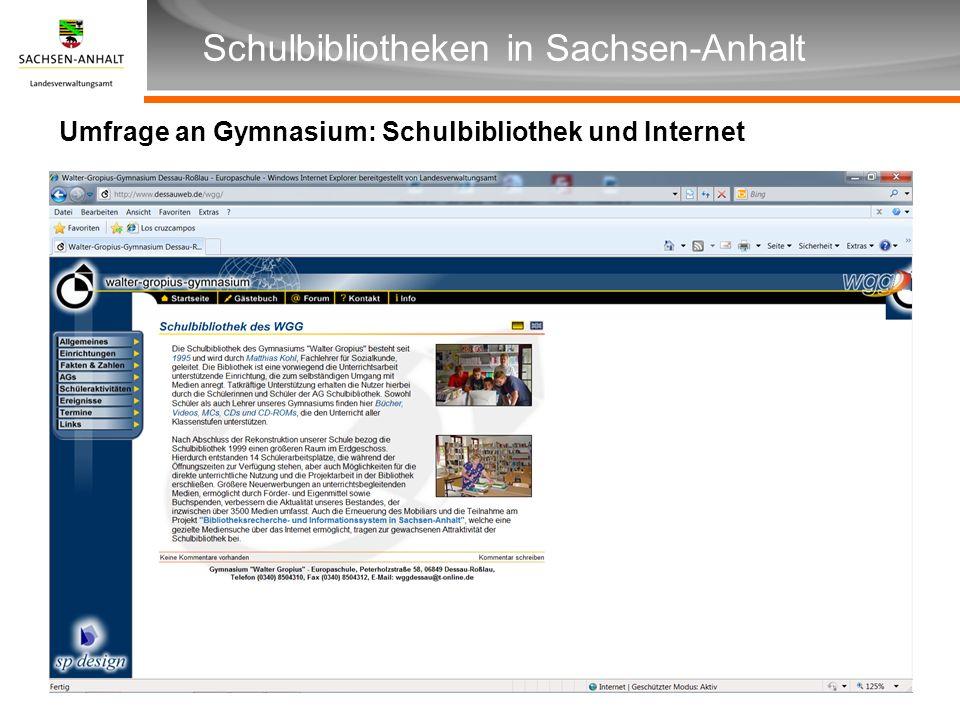 Umfrage an Gymnasium: Schulbibliothek und Internet