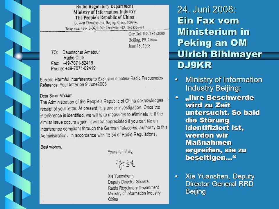 24. Juni 2008: Ein Fax vom Ministerium in Peking an OM Ulrich Bihlmayer DJ9KR