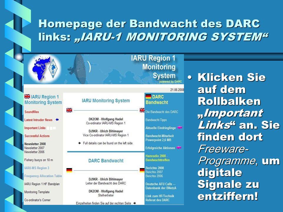 """Homepage der Bandwacht des DARC links: """"IARU-1 MONITORING SYSTEM"""