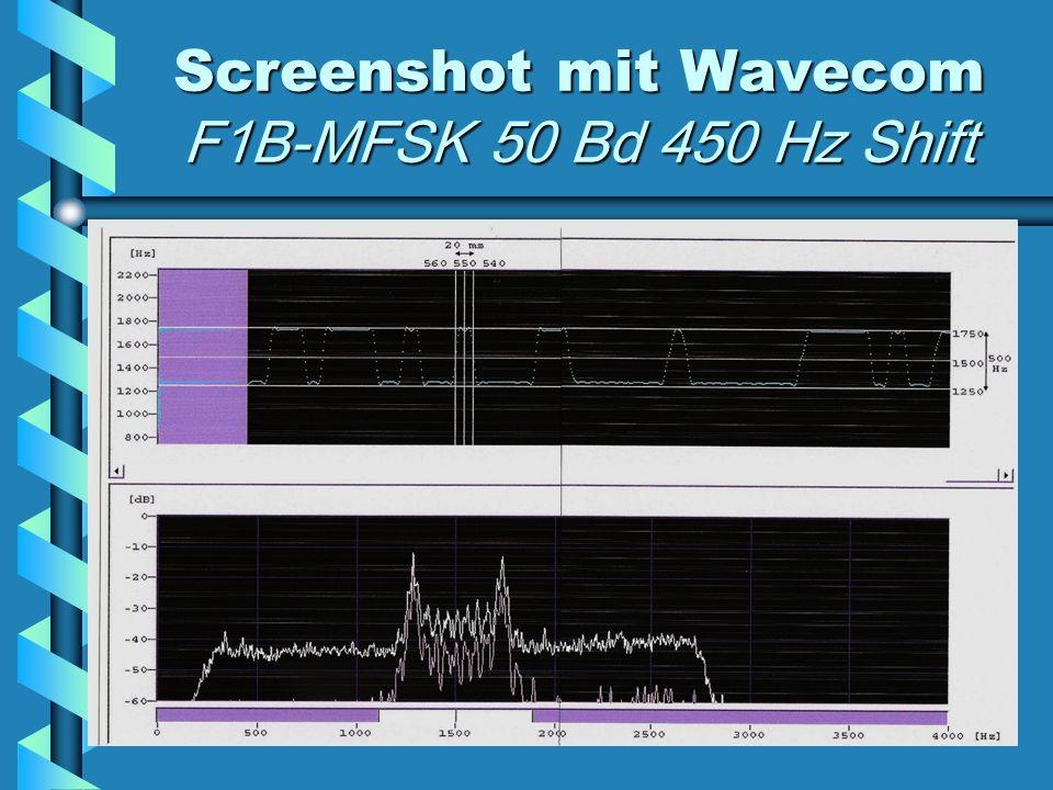 Screenshot mit Wavecom F1B-MFSK 50 Bd 450 Hz Shift
